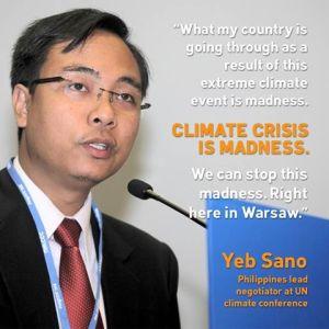 נציג הפיליפינים בוועידת האקלים. מתוך 350.org